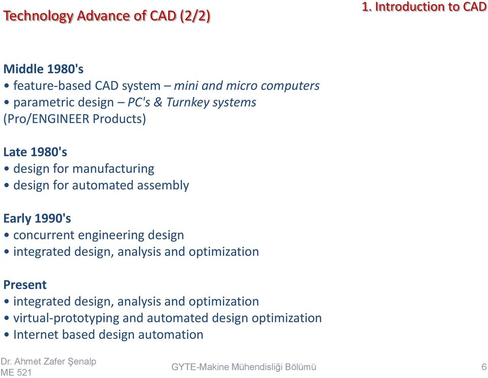 Early 1990's concurrent engineering design integrated design, analysis and optimization Present integrated