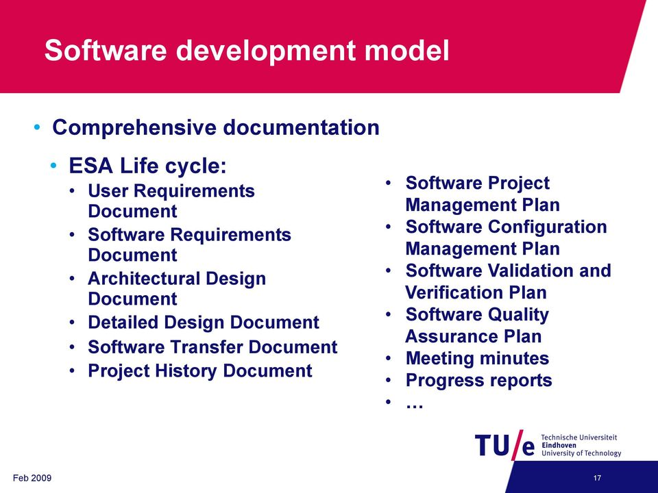 Project History Document Software Project Management Plan Software Configuration Management Plan Software