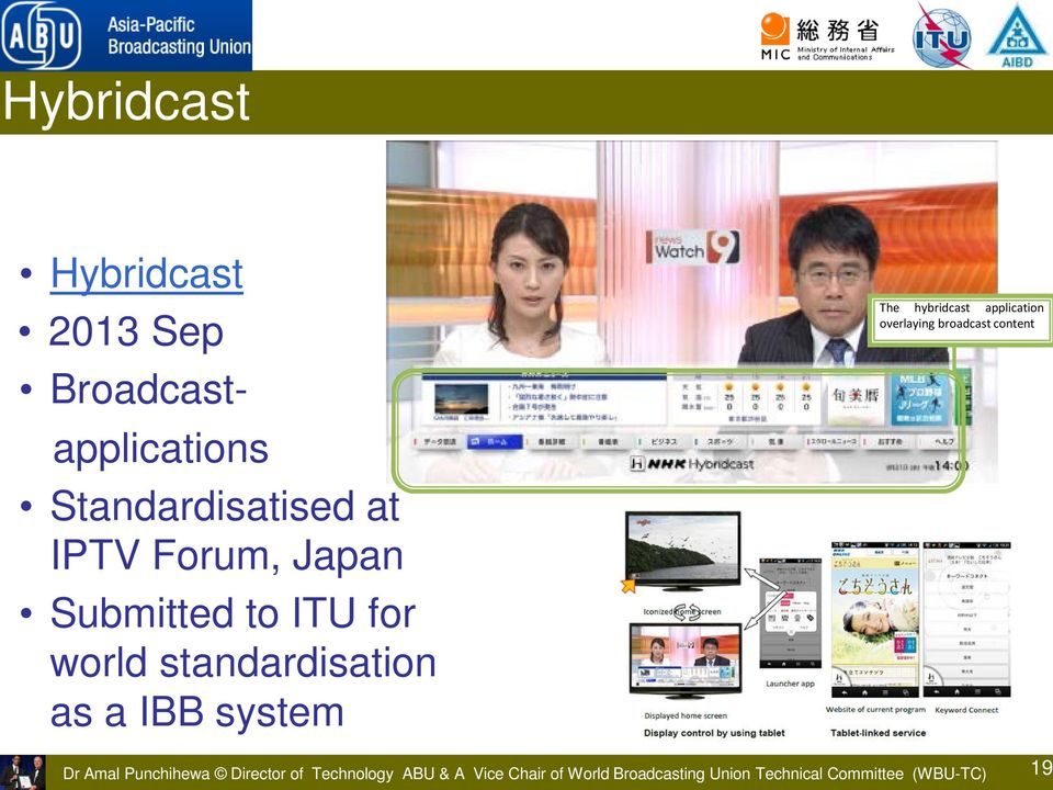 hybridcast application overlaying broadcast content Dr Amal Punchihewa Director