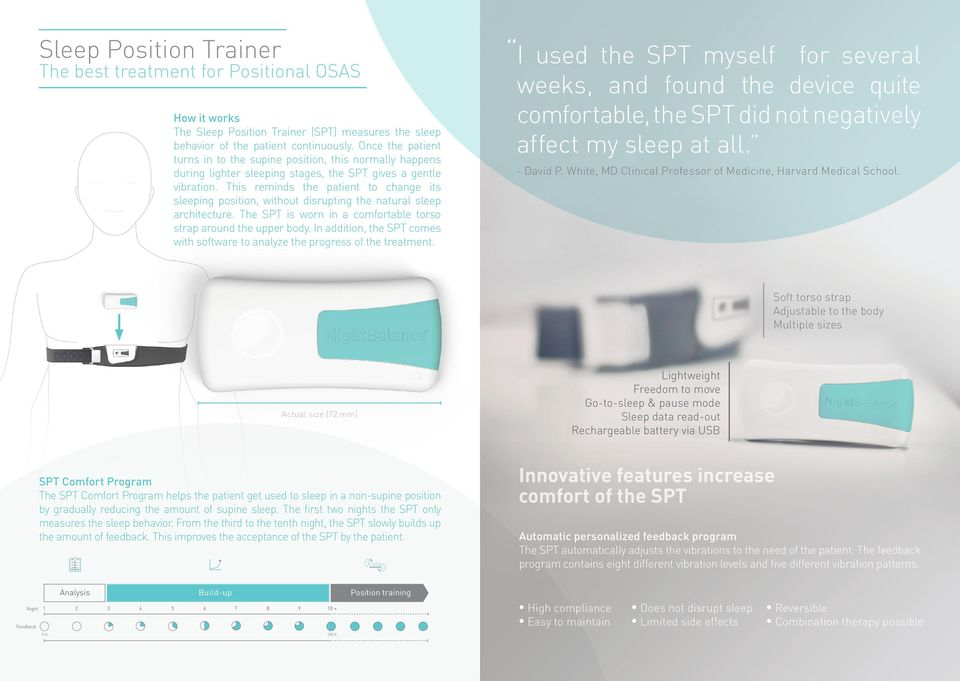 This reminds the patient to change its sleeping position, without disrupting the natural sleep architecture. The SPT is worn in a comfortable torso strap around the upper body.
