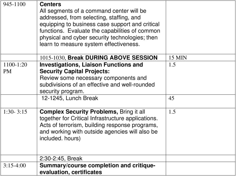 1100-1:20 PM 1015-1030, Break DURING ABOVE SESSION 15 MIN Investigations, Liaison Functions and 1.
