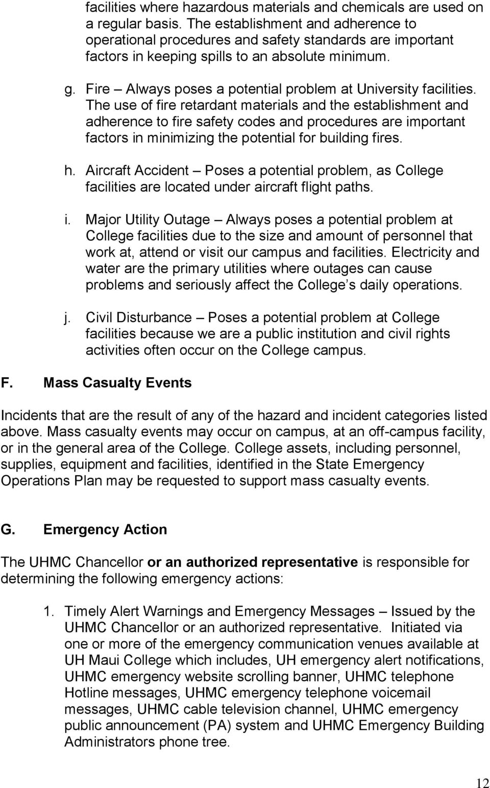 University Of Hawaii Maui College Emergency Operation Plan Pdf
