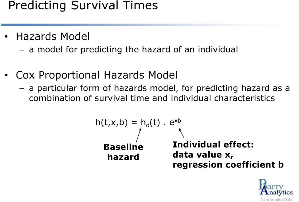 predicting hazard as a combination of survival time and individual characteristics