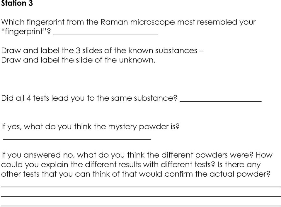 RET Lesson Plan Title Identifying Mystery Powders Primary