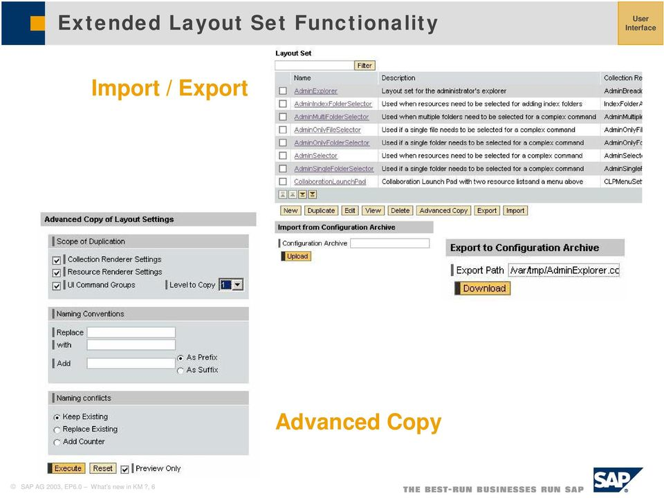 Import / Export Advanced Copy
