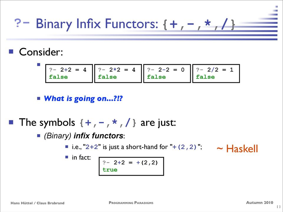 "..?!? The symbols {+,-,*,/} are just: (Binary) infix functors: i.e., ""2+2"" is just a short-hand for ""+(2,2)""; in fact:?"