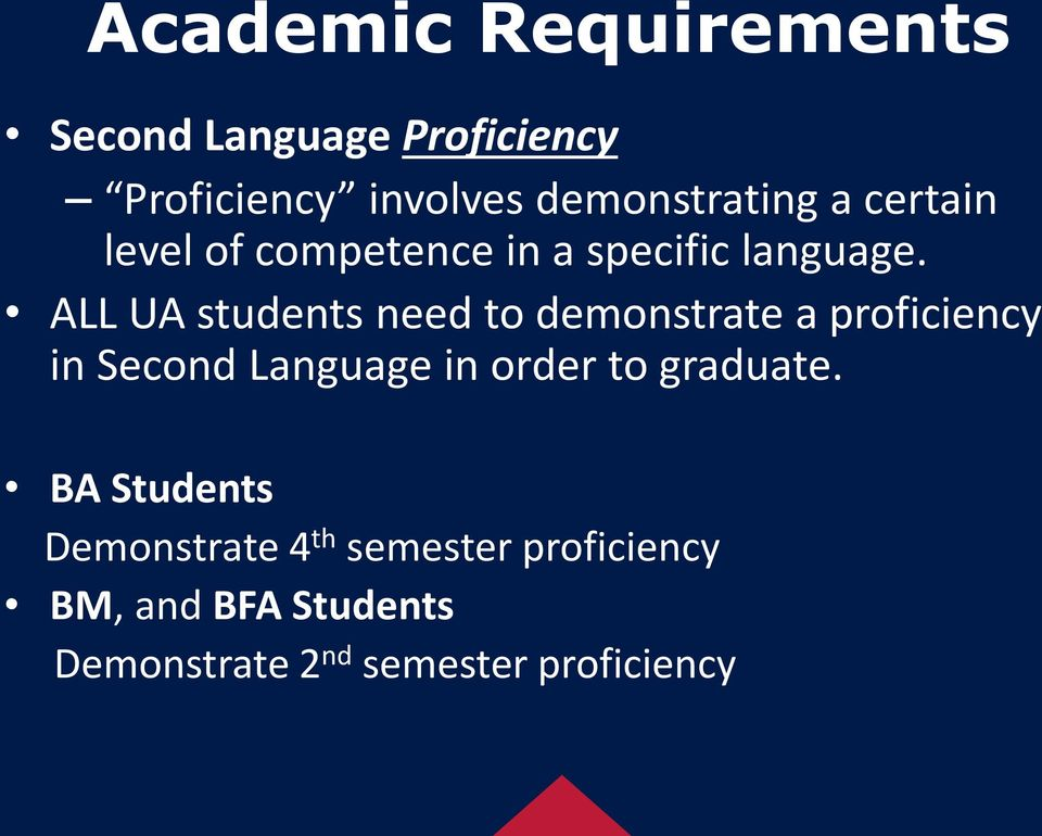 ALL UA students need to demonstrate a proficiency in Second Language in order to