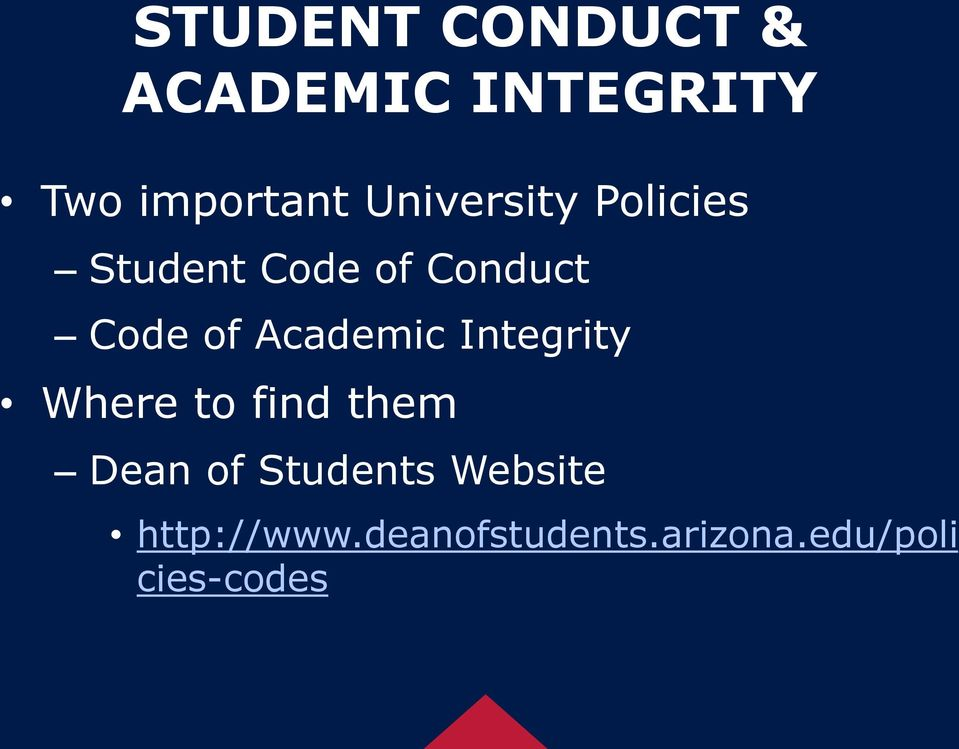 Academic Integrity Where to find them Dean of Students