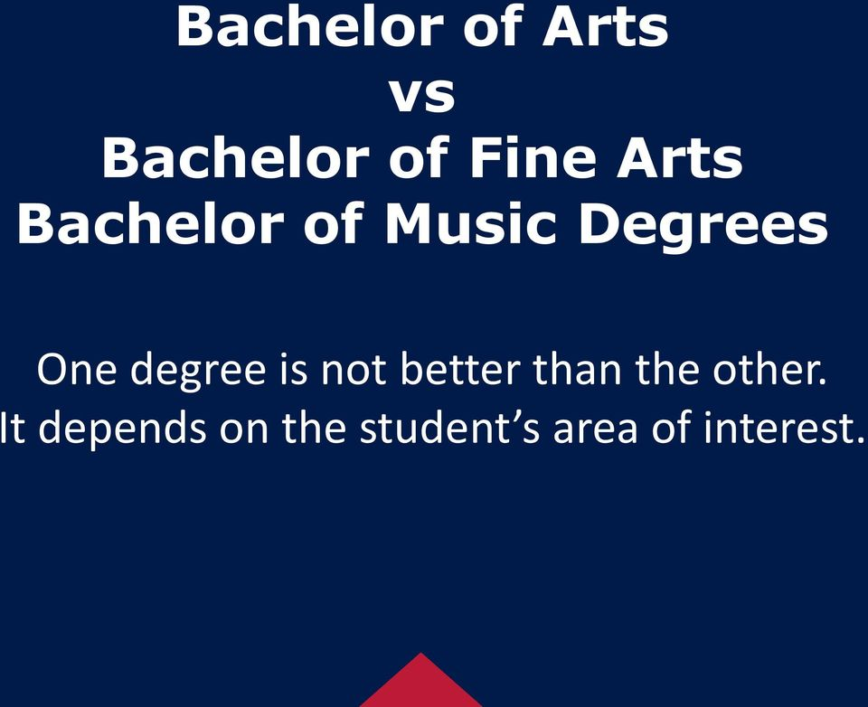 degree is not better than the other.