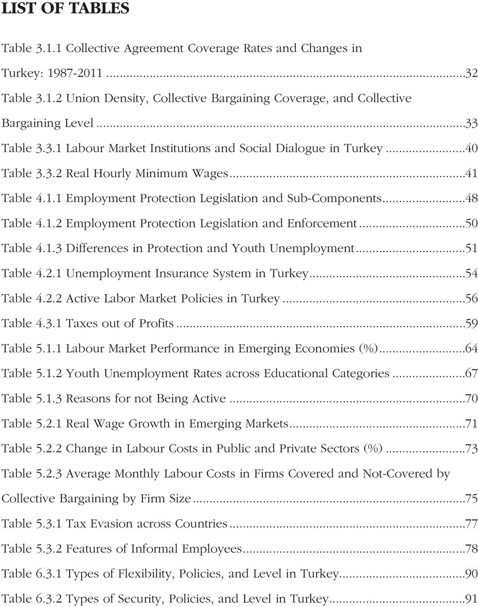 1.2 Employment Protection Legislation and Enforcement...50 Table 4.1.3 Differences in Protection and Youth Unemployment...51 Table 4.2.1 Unemployment Insurance System in Turkey...54 Table 4.2.2 Active Labor Market Policies in Turkey.