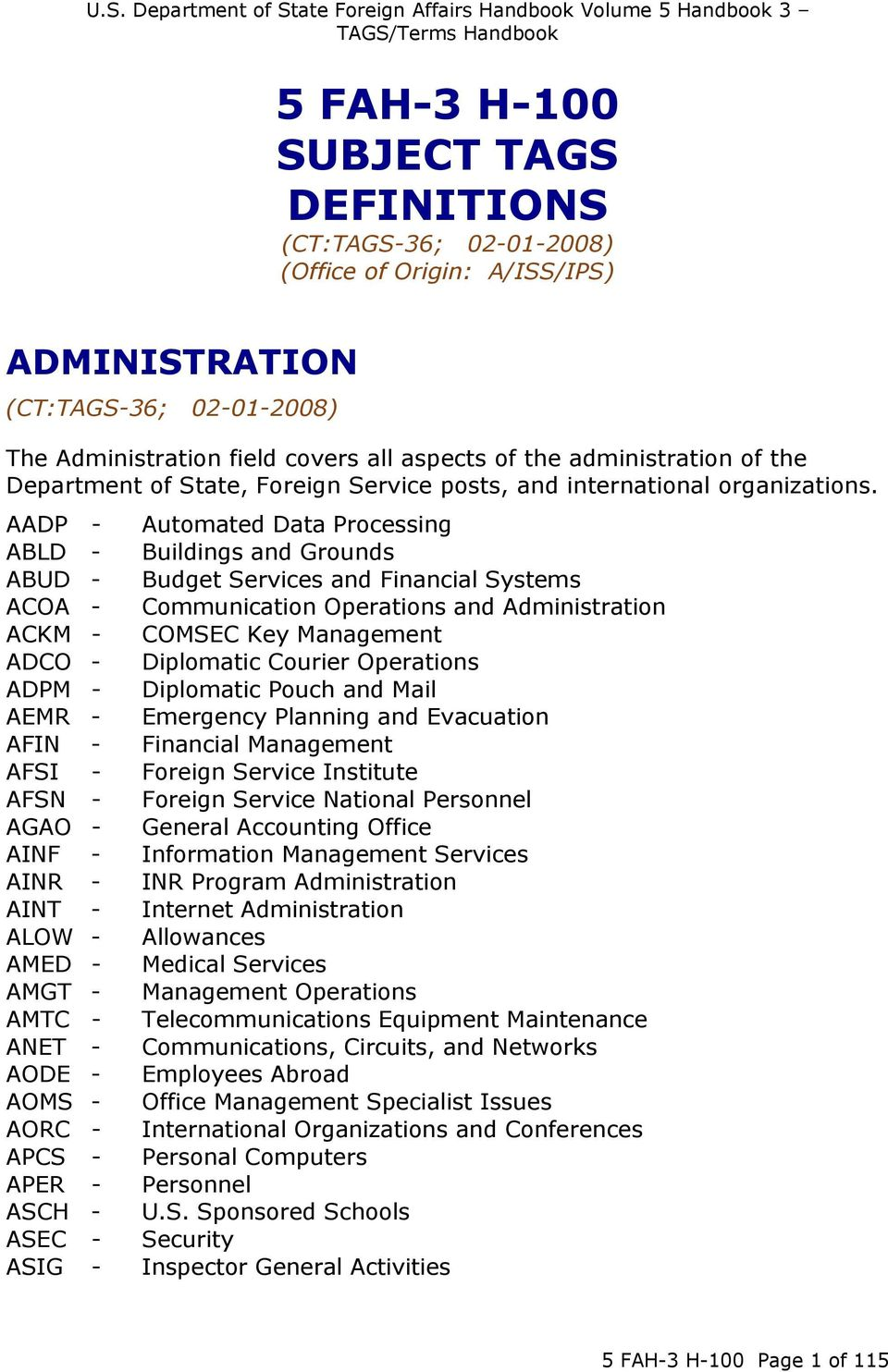 AADP - Automated Data Processing ABLD - Buildings and Grounds ABUD - Budget Services and Financial Systems ACOA - Communication Operations and Administration ACKM - COMSEC Key Management ADCO -