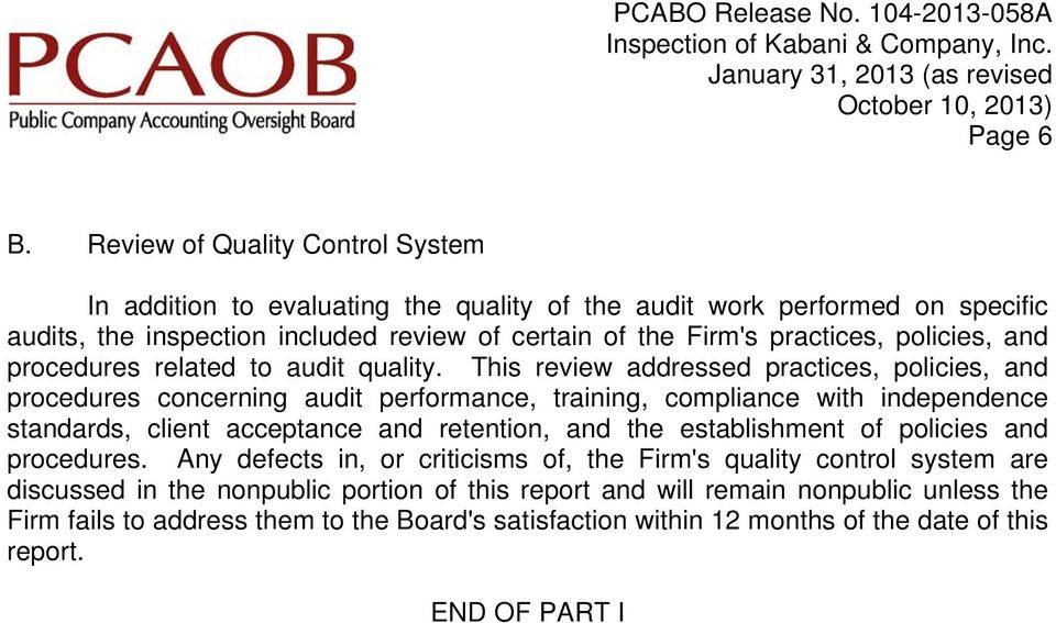 procedures related to audit quality.