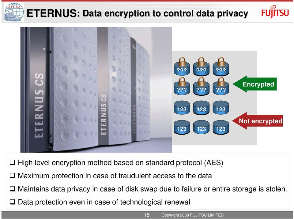 ?? 123 123 Encrypted Not encrypted High level encryption method based on standard protocol (AES) Maximum protection