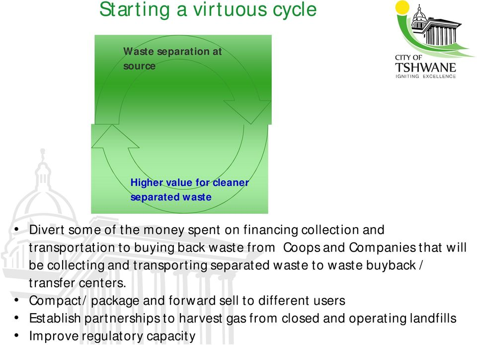 collecting and transporting separated waste to waste buyback / transfer centers.