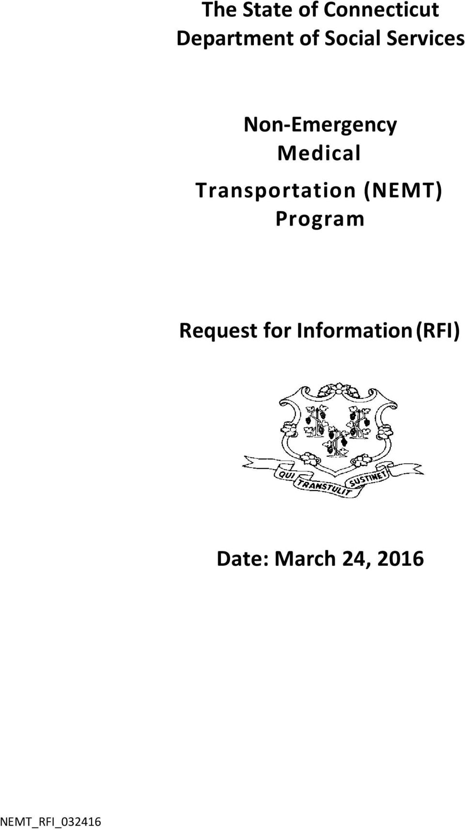 Transportation (NEMT) Program Request for
