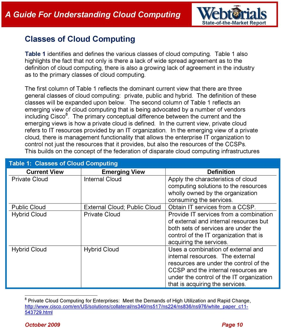 primary classes of cloud computing. The first column of Table 1 reflects the dominant current view that there are three general classes of cloud computing: private, public and hybrid.