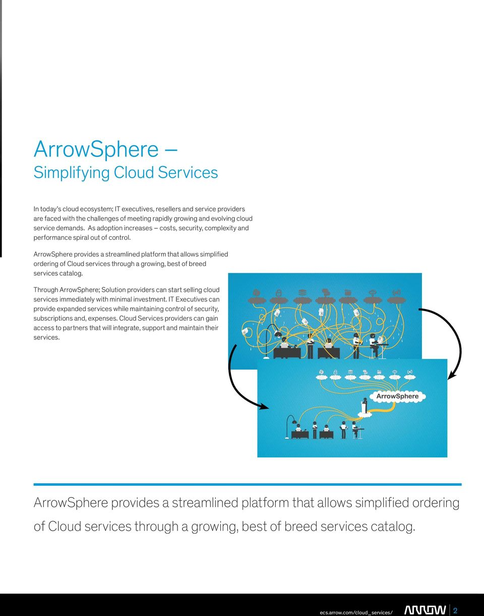 ArrowSphere provides a streamlined platform that allows simplified ordering of Cloud services through a growing, best of breed services catalog.