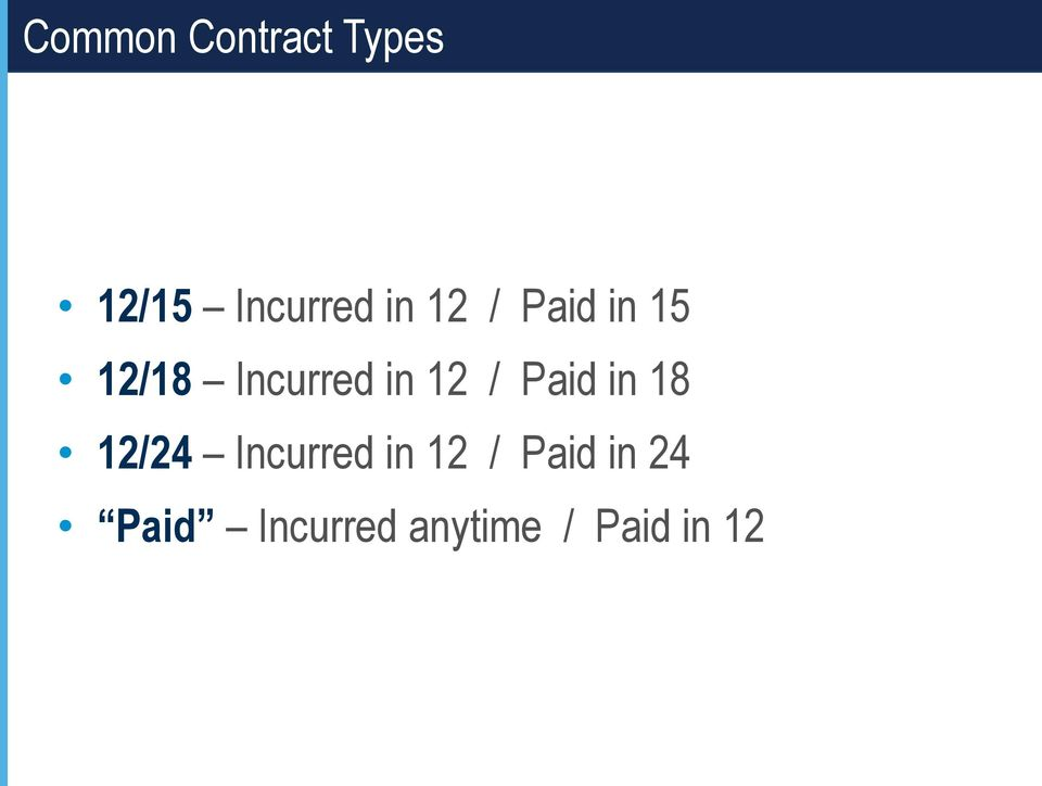 Paid in 18 12/24 Incurred in 12 / Paid
