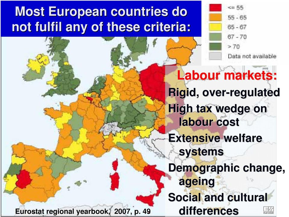 49 Labour markets: Rigid, over-regulated regulated High tax wedge