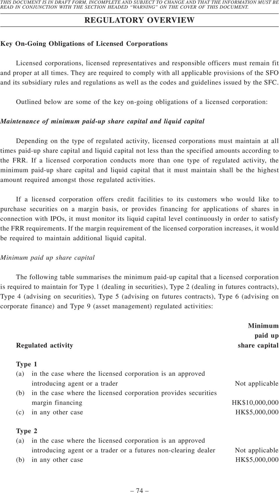 Outlined below are some of the key on-going obligations of a licensed corporation: Maintenance of minimum paid-up share capital and liquid capital Depending on the type of regulated activity,