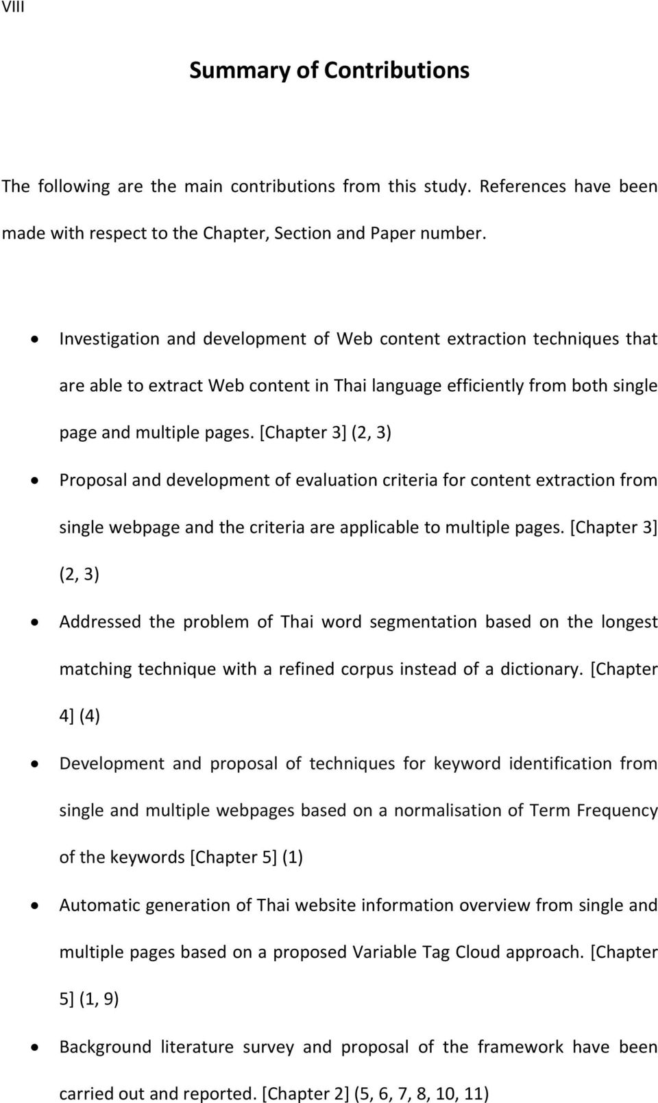 [Chapter 3] (2, 3) Proposal and development of evaluation criteria for content extraction from single webpage and the criteria are applicable to multiple pages.