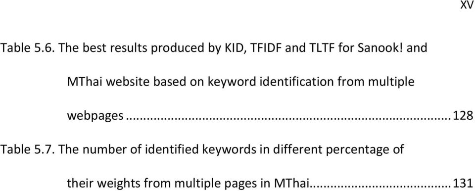and MThai website based on keyword identification from multiple