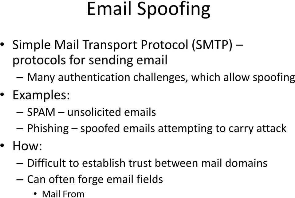 unsolicited emails Phishing spoofed emails attempting to carry attack How: