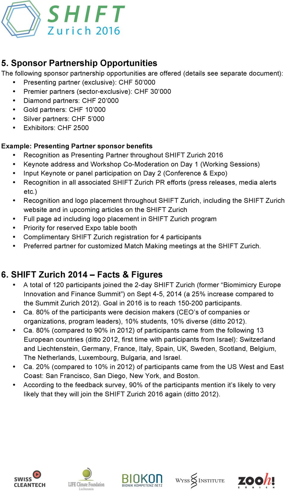 Presenting Partner throughout SHIFT Zurich 2016 Keynote address and Workshop Co-Moderation on Day 1 (Working Sessions) Input Keynote or panel participation on Day 2 (Conference & Expo) Recognition in