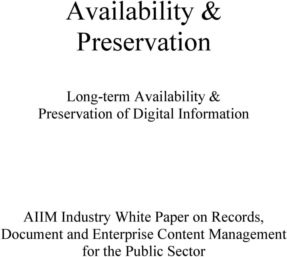 Information AIIM Industry White Paper on