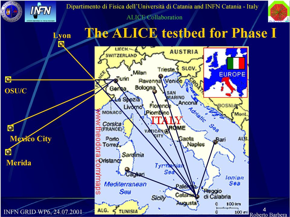 Catania - Italy The ALICE testbed