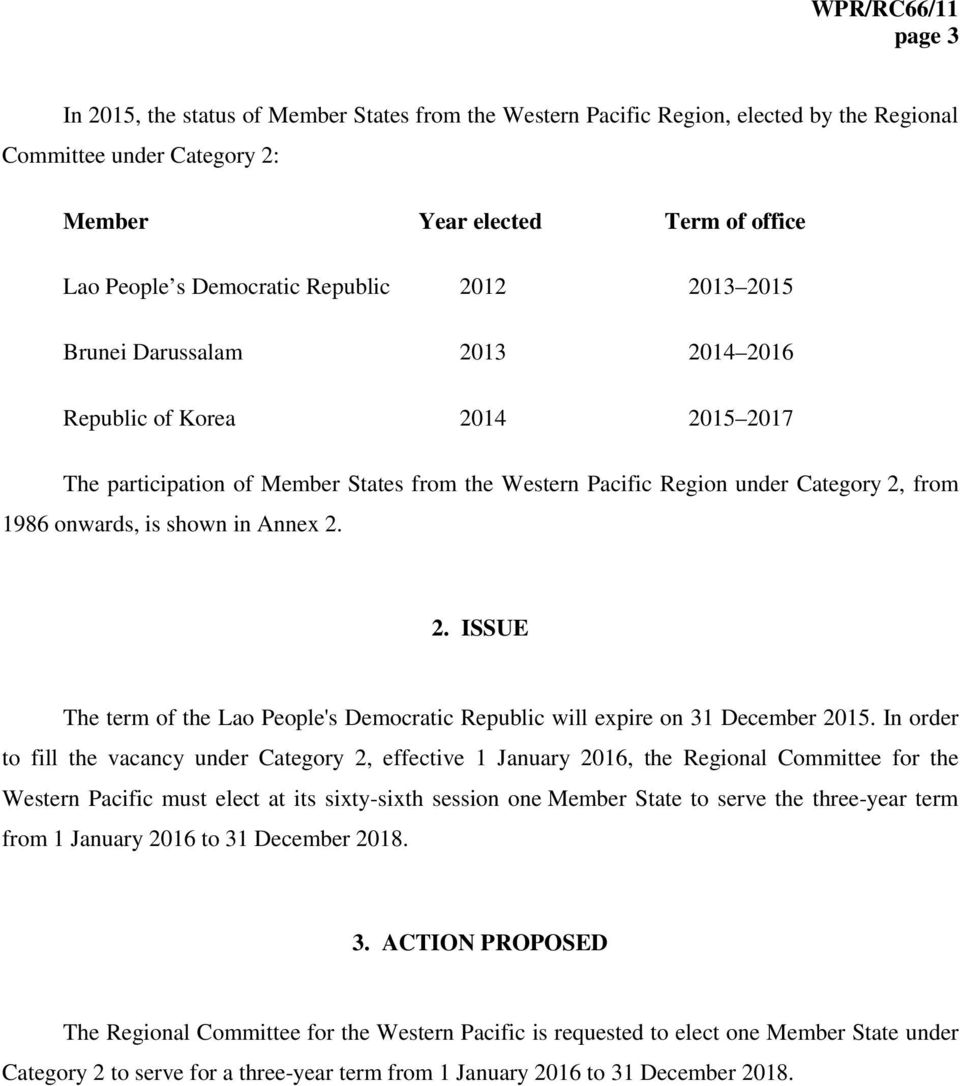 Annex 2. 2. ISSUE The term of the Lao People's Democratic Republic will expire on 31 December 2015.