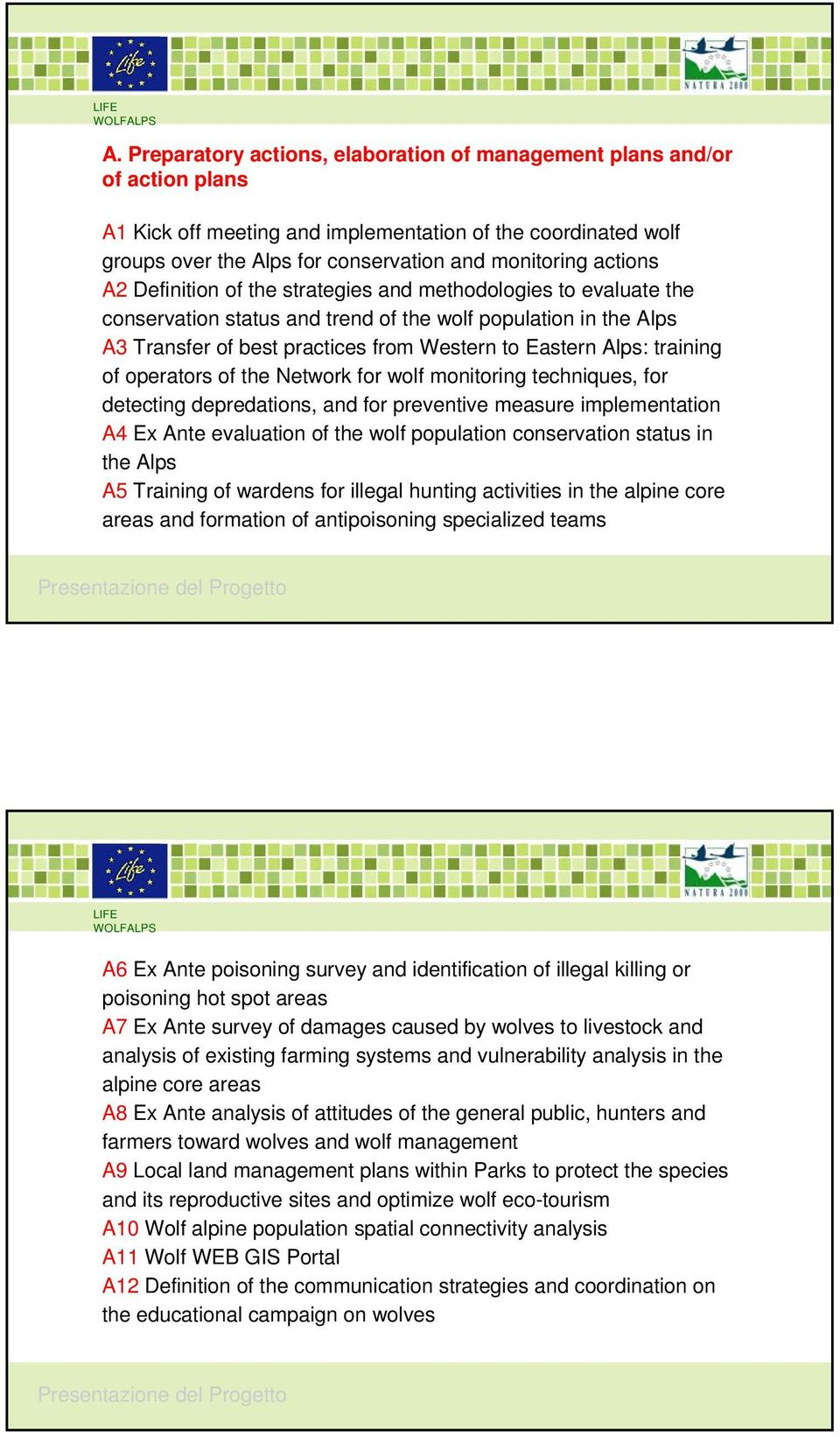 training of operators of the Network for wolf monitoring techniques, for detecting depredations, and for preventive measure implementation A4 Ex Ante evaluation of the wolf population conservation