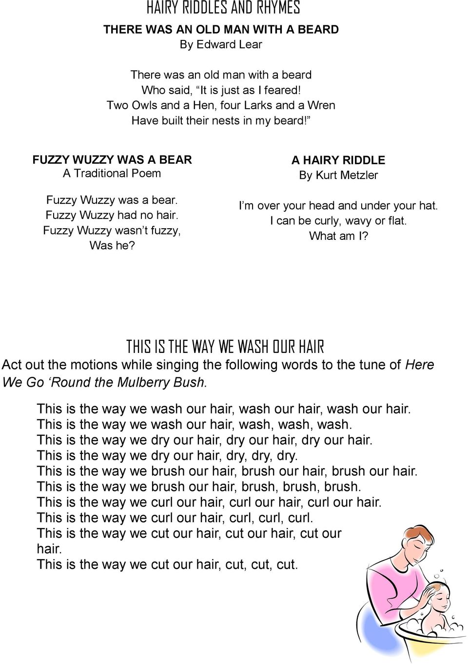Fuzzy Wuzzy wasn t fuzzy, Was he? A HAIRY RIDDLE By Kurt Metzler I m over your head and under your hat. I can be curly, wavy or flat. What am I?