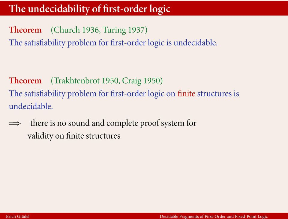 Theorem (Trakhtenbrot 1950, Craig 1950) The satisfiability problem for first-order