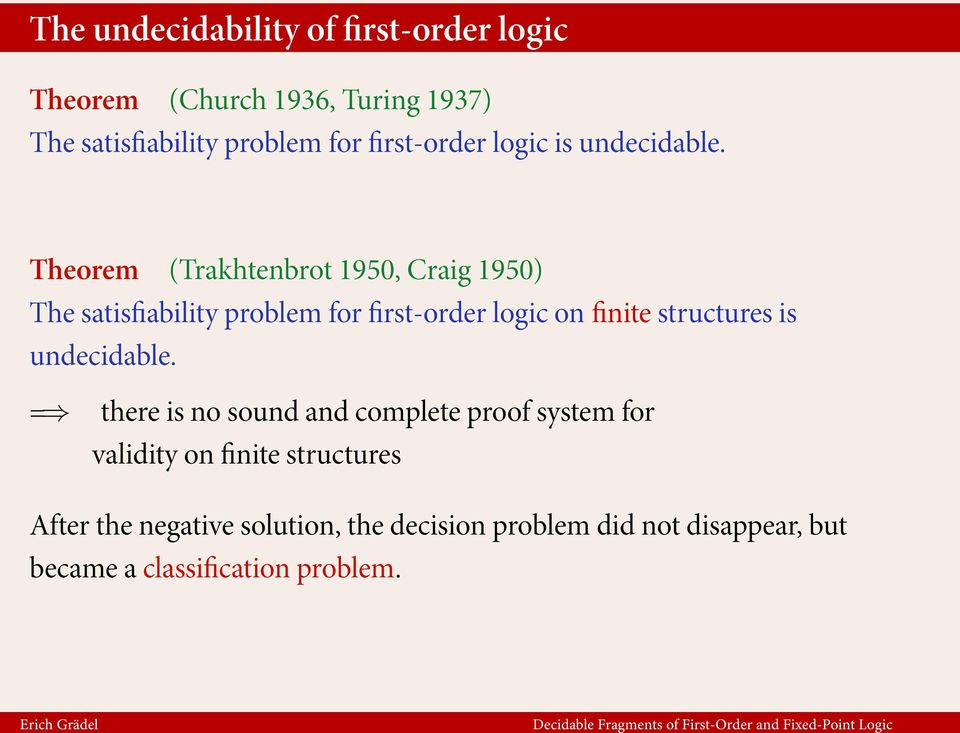 Theorem (Trakhtenbrot 1950, Craig 1950) The satisfiability problem for first-order logic on finite structures is