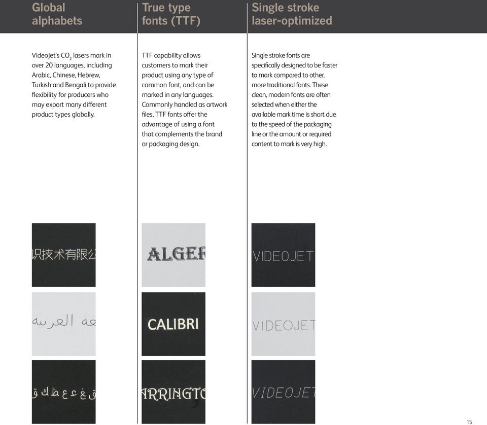 Commonly handled as artwork files, TTF fonts offer the advantage of using a font that complements the brand or packaging design.