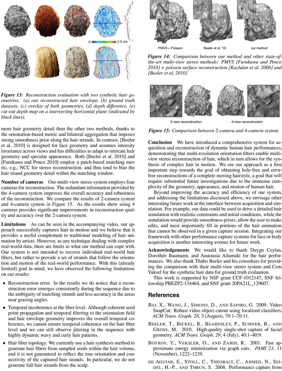 2006] and [Beeler et al. 2010] Figure 13: Reconstruction evaluation with two synthetic hair geometries.