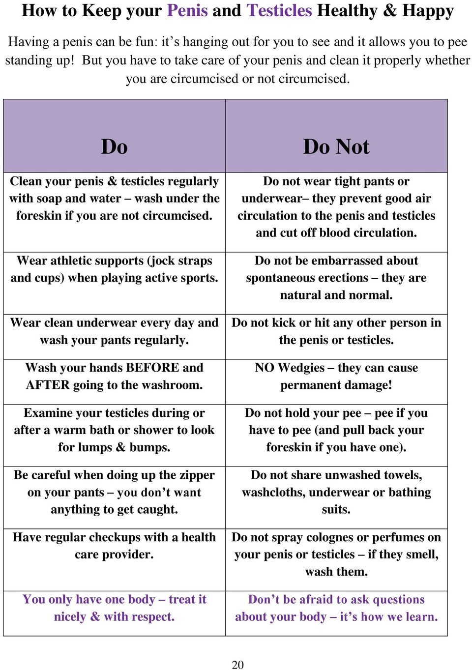 Do Clean your penis & testicles regularly with soap and water wash under the foreskin if you are not circumcised. Wear athletic supports (jock straps and cups) when playing active sports.