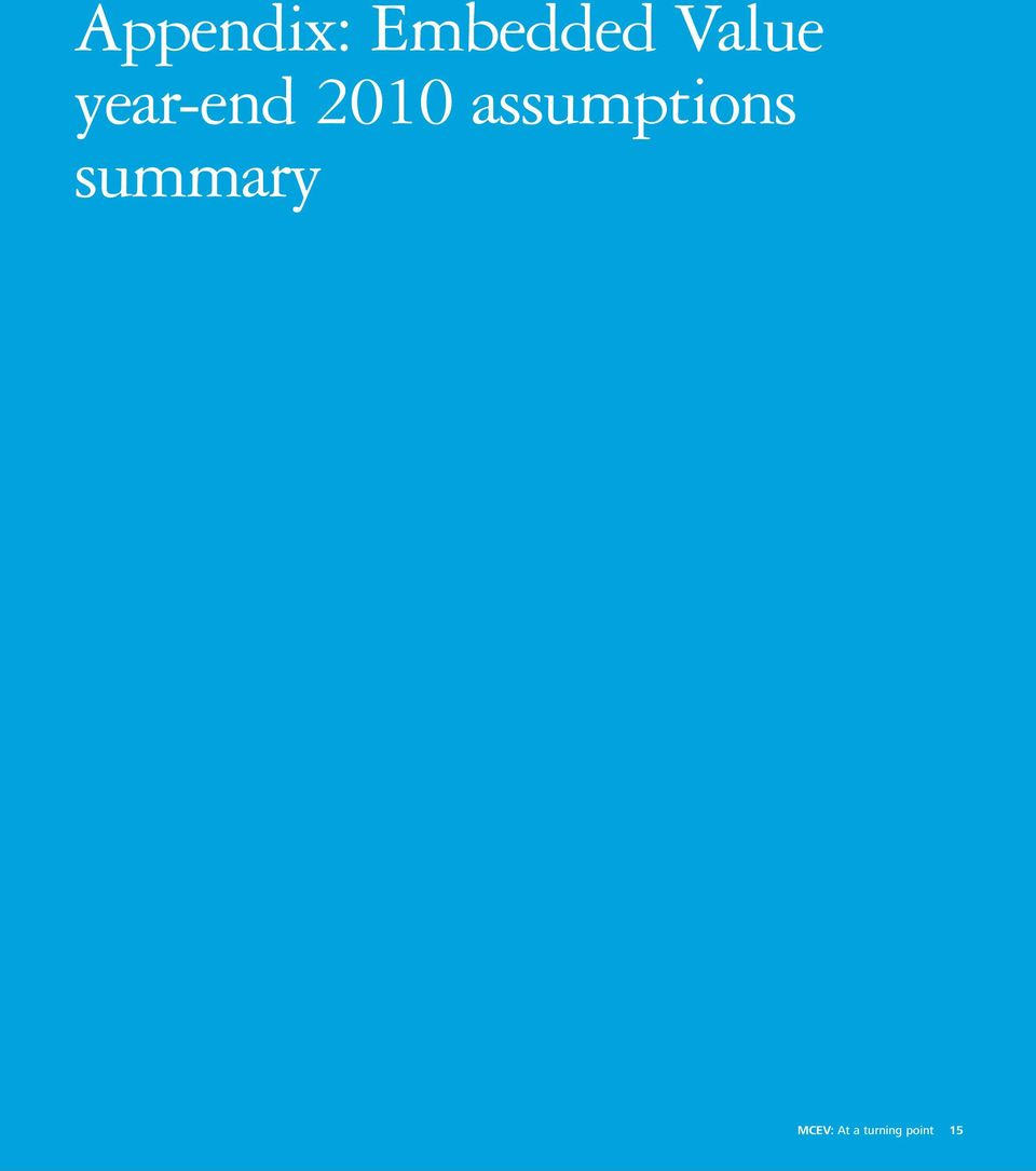 assumptions summary