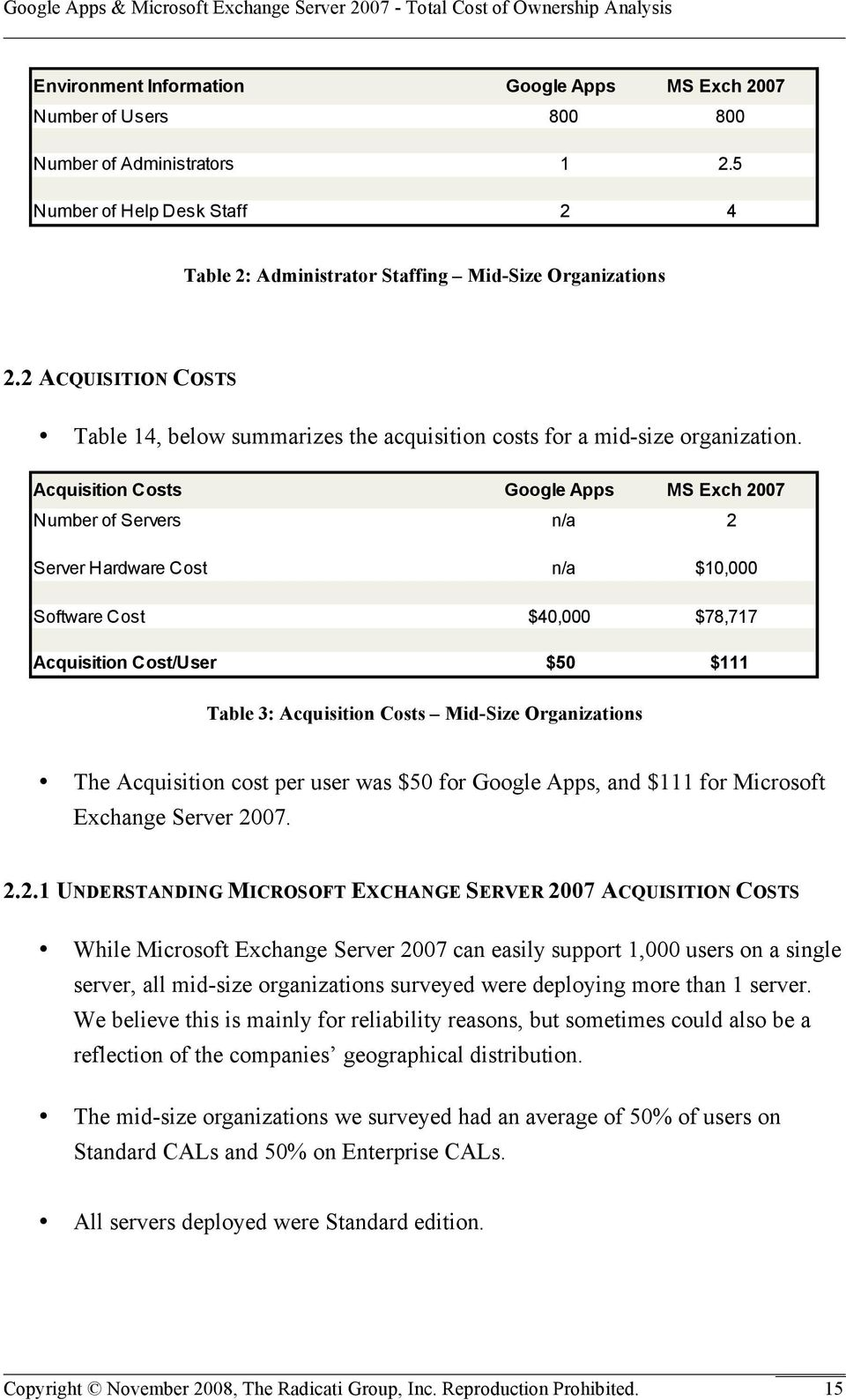 Acquisition Costs Google Apps MS Exch 2007 Number of Servers n/a 2 Server Hardware Cost n/a $10,000 Software Cost $40,000 $78,717 Acquisition Cost/User $50 $111 Table 3: Acquisition Costs Mid-Size