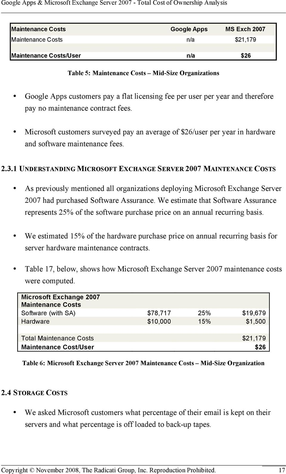 1 UNDERSTANDING MICROSOFT EXCHANGE SERVER 2007 MAINTENANCE COSTS As previously mentioned all organizations deploying Microsoft Exchange Server 2007 had purchased Software Assurance.