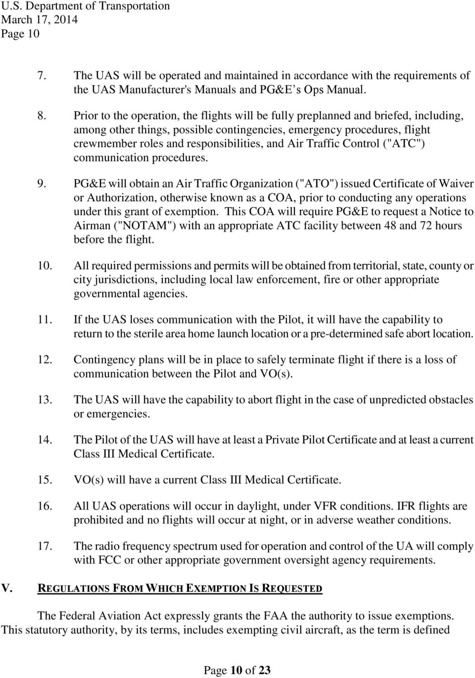 "and Air Traffic Control (""ATC"") communication procedures. 9."