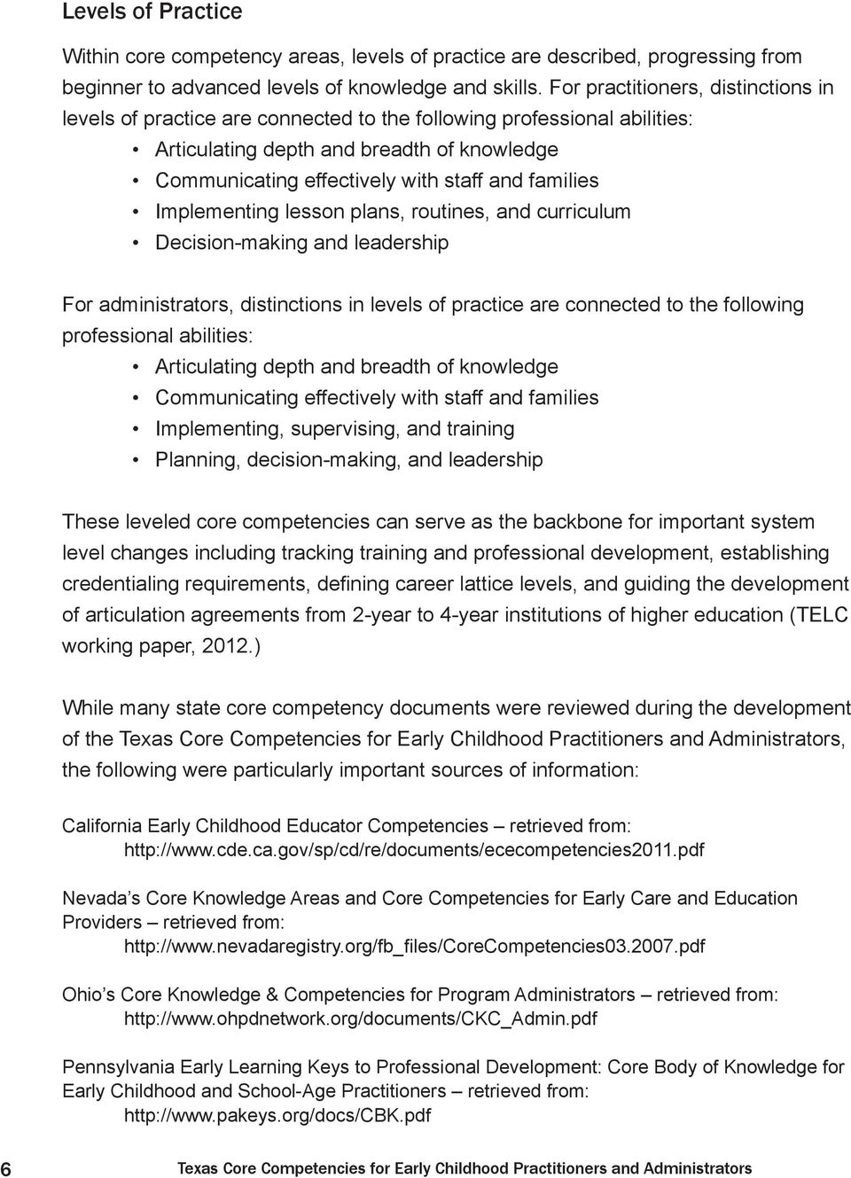 Texas Core Competencies For Early Childhood Practitioners And