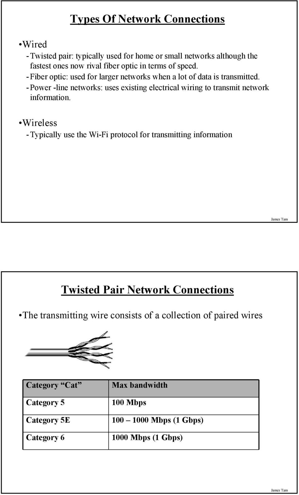 - Power -line networks: uses existing electrical wiring to transmit network information.