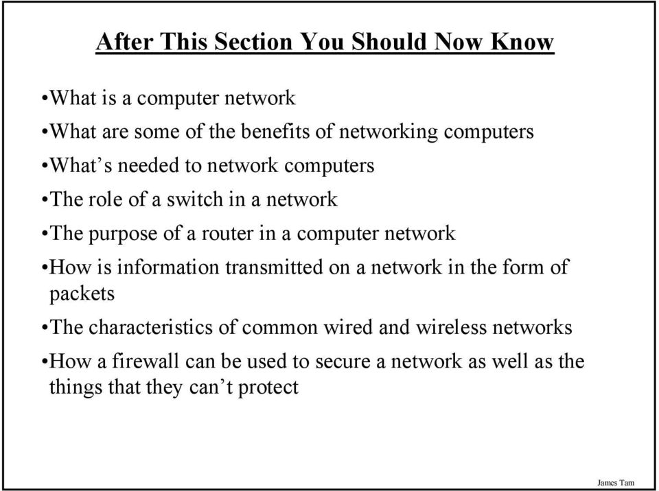 computer network How is information transmitted on a network in the form of packets The characteristics of