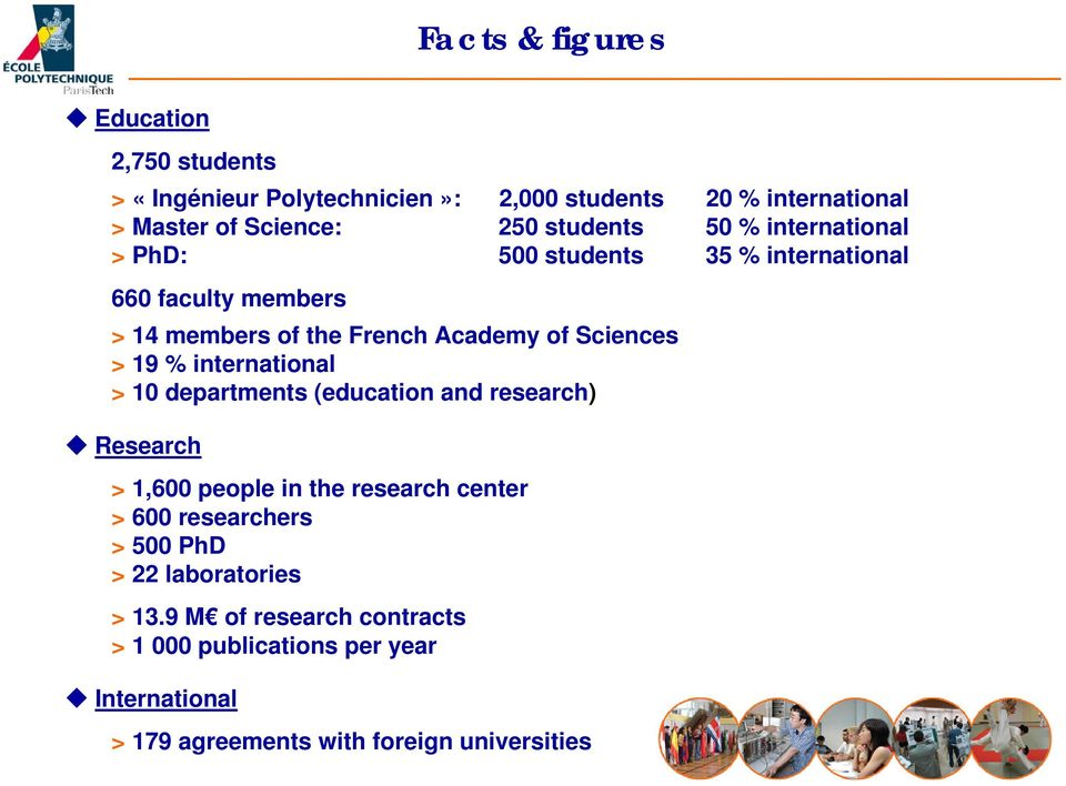 > 19 % international > 10 departments (education and research) Research > 1,600 people in the research center > 600 researchers > 500