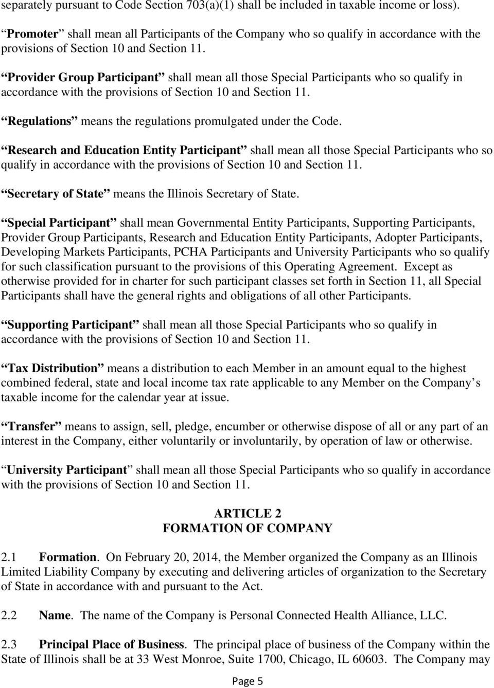 Amended And Restated Operating Agreement Of Personal Connected