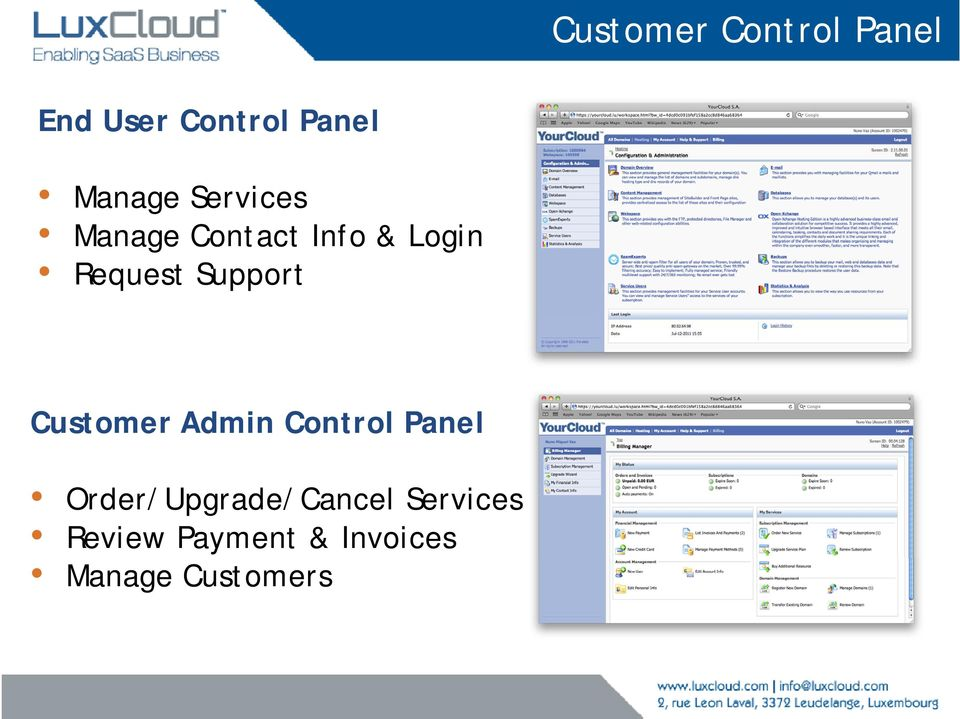 Support Customer Admin Control Panel