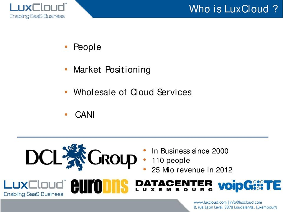 Wholesale of Cloud Services CANI
