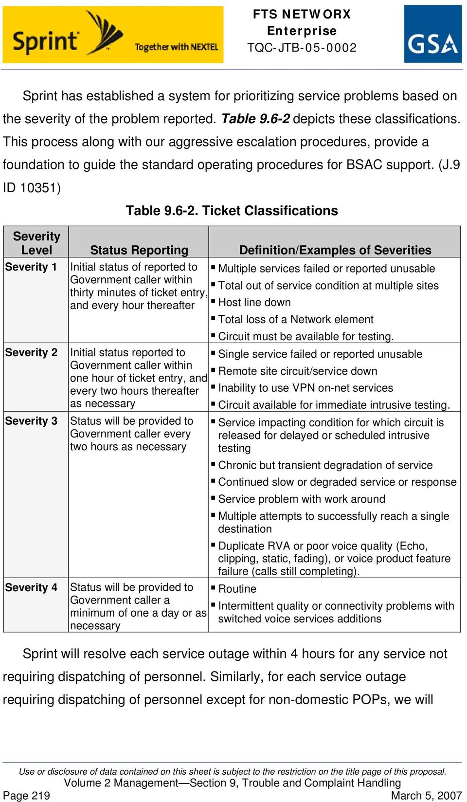 Ticket Classifications Severity Level Status Reporting Definition/Examples of Severities Severity 1 Initial status of reported to Multiple services failed or reported unusable Government caller